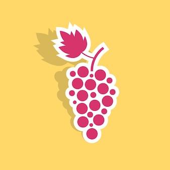 그림자와 함께 포도 아이콘 스티커입니다. 포도주 양조장, 주류 판매점, 와인 하우스, 음료, egetarian의 개념. 노란색 배경에 고립. 플랫 스타일 트렌드 현대 로고 디자인 벡터 일러스트 레이 션