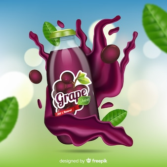 Grape juice on abstract background