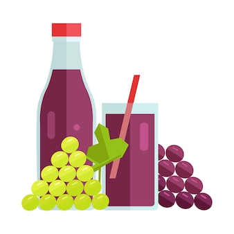Grape juice concept vector illustration.
