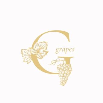 Виноградное письмо g. абстрактный знак, символ или шаблон логотипа.