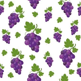 Виноградный узор на белом фоне, цветные векторные иллюстрации.