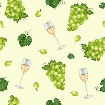 Grape seamless pattern with white wine glasses