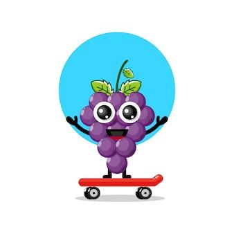グレープスケートボードかわいいキャラクターマスコット