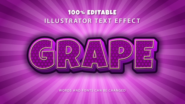 Grape text style effect,editable text