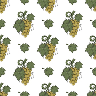 Grape vine and wine leaf icons seamless pattern
