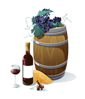 ブドウ、ワインボトル、ワイングラス、樽、ブドウ、チーズ。白い背景で隔離のオブジェクト。