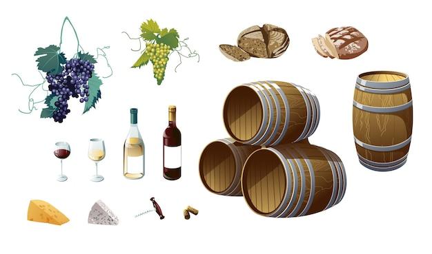 ブドウ、ワインボトル、ワイングラス、樽、ブドウ、チーズ、パン。白い背景で隔離のオブジェクト。