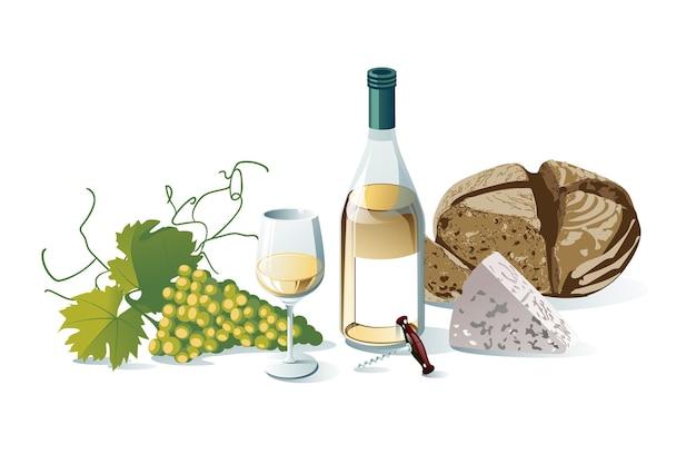 ブドウ、ワインボトル、ワイングラス、ブドウ、チーズ、パン。白い背景で隔離のオブジェクト。