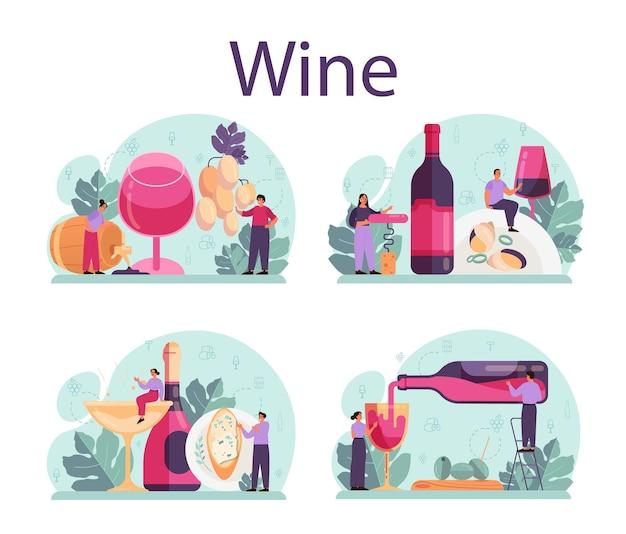 ボトルに入ったブドウワインとアルコール飲料がいっぱい入ったグラス