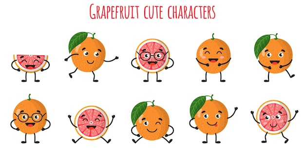 Grapefruit citrus fruit cute funny cheerful characters with different poses and emotions. natural vitamin antioxidant detox food collection.   cartoon isolated illustration.