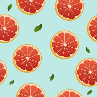 Grapefruit and leaf seamless pattern