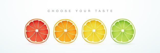 グレープフルーツオレンジレモンとライム