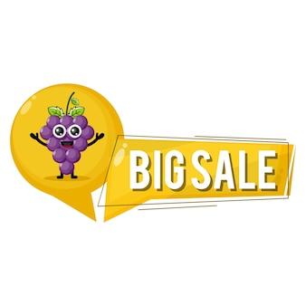 Grapes big sale cute character mascot