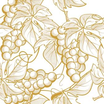 Виноградные гроздья и винные элементы. бесшовная текстура графика
