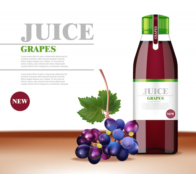 Grapes juice realistic mock up