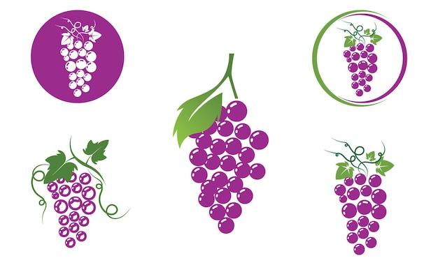 ブドウのロゴのテンプレートベクトルアイコンイラストデザイン