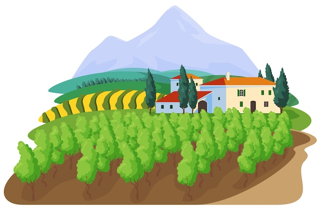 Grapes on the vineyard farm sign label concept grape production beautiful rural landscape with hacie...