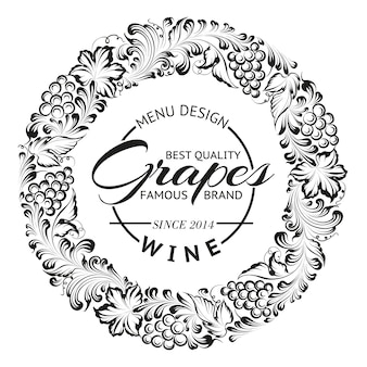Grapes wreath or frame design for wine emblem.