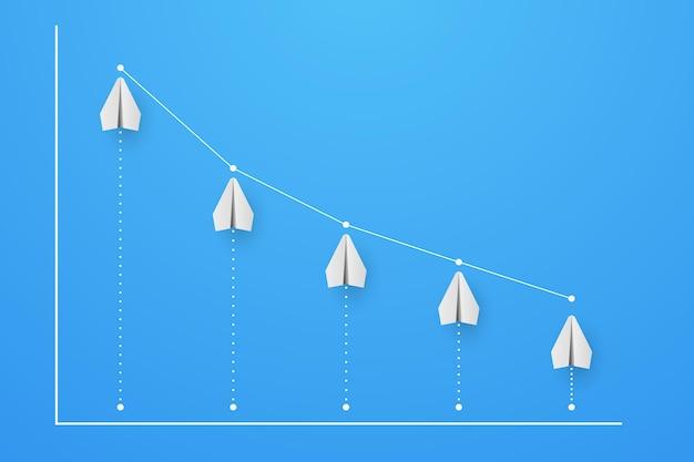 감소 금융 및 비즈니스 개념 벡터 일러스트와 함께 비행기에서 그래프 및 다이어그램