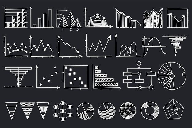 Graph and chart linear illustrations set