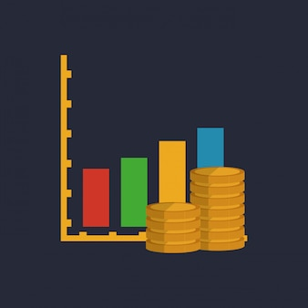 Graph chart with business related icons image