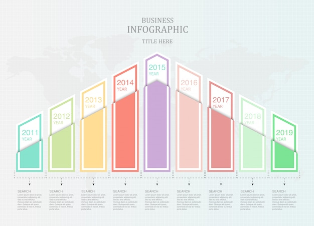 Graph nine element infographic for business