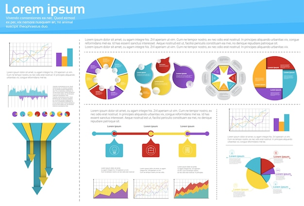 Graph set finance diagram infographic icon