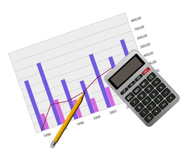 Graph with calculator icon  concept