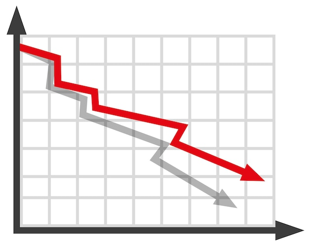 Graph with decrease report diagram with recession and bankruptcy progresstration