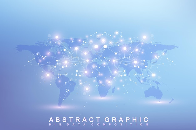 Graphic abstract background communication. big data complex with compounds. perspective backdrop with world map. minimal array big data. digital data visualization. scientific vector illustration.
