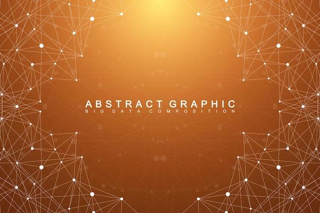 그래픽 추상적인 배경 통신입니다. 화합물과 기하학적 과학적 패턴입니다. 최소한의 배열 선과 점. 디지털 데이터 시각화. 귀하의 디자인에 대 한 과학적인 벡터 일러스트 레이 션
