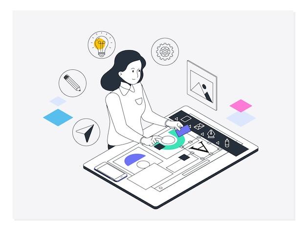 グラフィックとウェブデザイン。創造的なプロセス、グラフィック、ウェブのデザインと開発のコンセプト