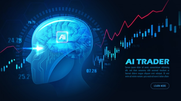 Graphic of artificial intelligence trading stock or forex background concept