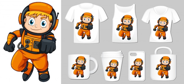 Graphic of astronaut different types of product template