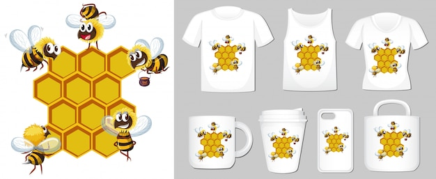 Graphic of bee and beehive on different product templates