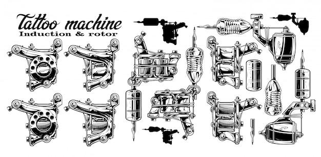 Graphic black and white metal tattoo machine set
