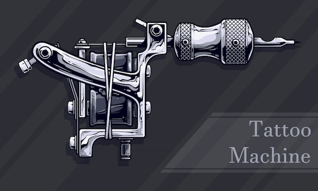 Graphic black and white metal tattoo machine