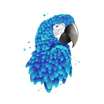 Graphic blue parrot, macaw bird illustration