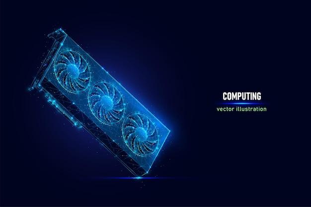 接続されたドットで作られた3つのクーラーデジタルワイヤーフレームを備えたビデオゲーム用のグラフィックカード。