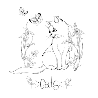 Graphic cat with wildflowers with insects