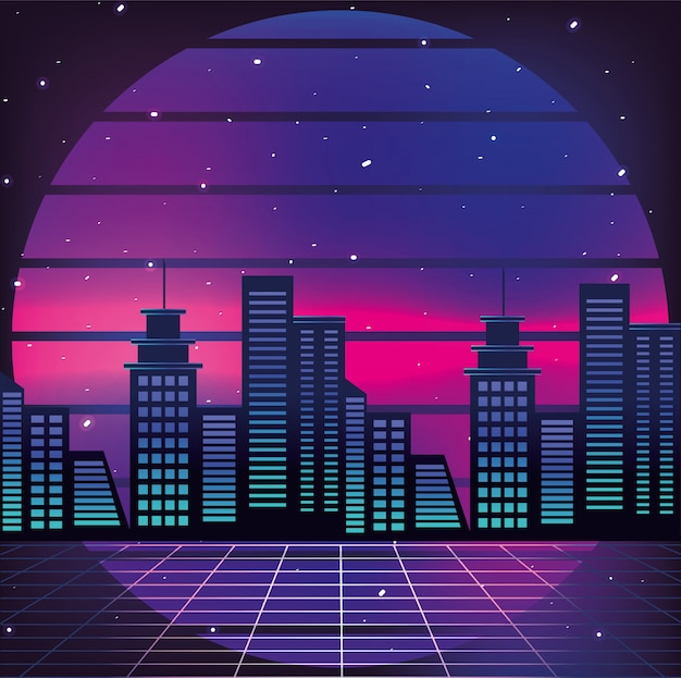 Graphic city and geometric sun background