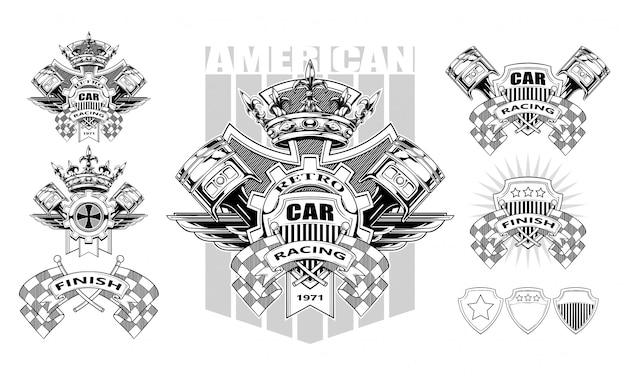 Graphic coat of arms with pistons and racing flags