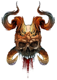Graphic colorful human skull with deamon horns