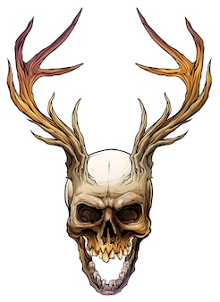 Graphic colorful human skull with deer horns