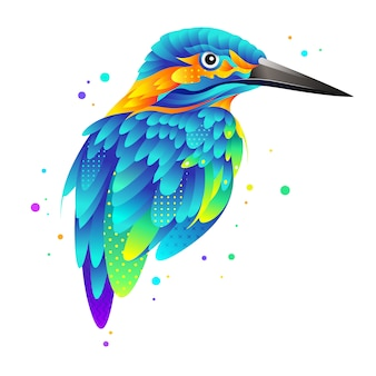 Graphic colorful kingfisher bird illustration