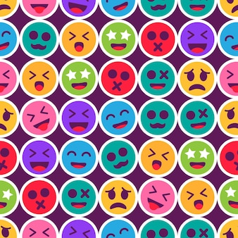 Graphic coloured emoticon seamless pattern template