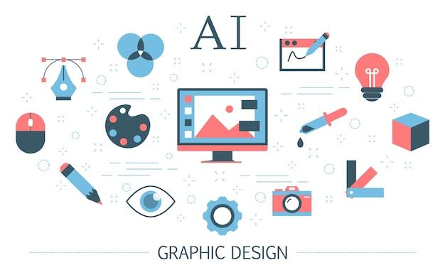 그래픽 개념. 디지털 아트의 아이디어와 창의적인 마음. 웹 페이지 배너. 다채로운 아이콘의 집합입니다. 삽화