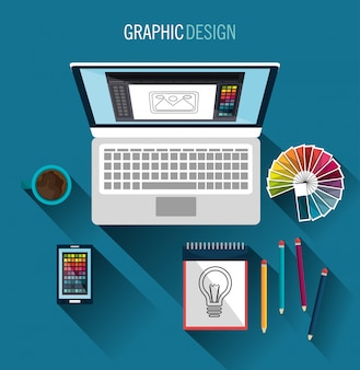 グラフィックデザインアートと職業のテーマ