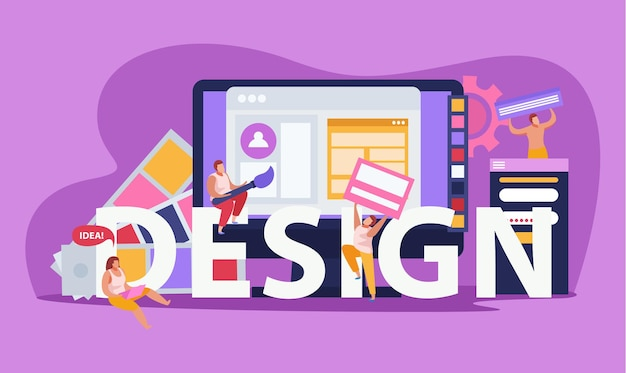 Graphic design colored flat composition with big headline design and abstract tools