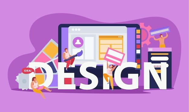 大きな見出しのデザインと抽象的なツールを備えたグラフィックデザインの色付きフラットコンポジション